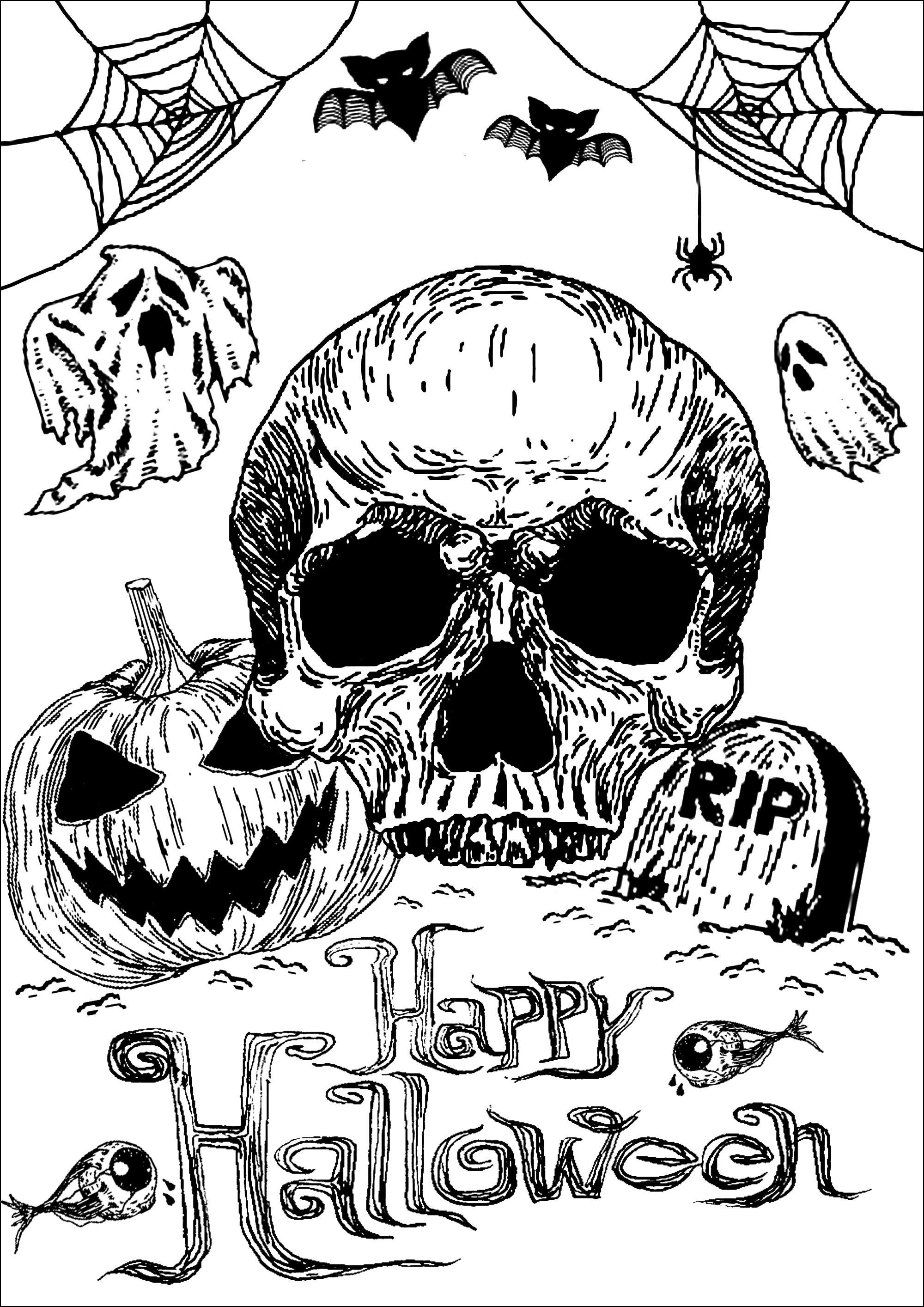 Coloriez pour Halloween ce crâne, cette citrouille et cette tombe ... accompagnée de jolis fantômes, chauves-souris, toiles d'araignées ...