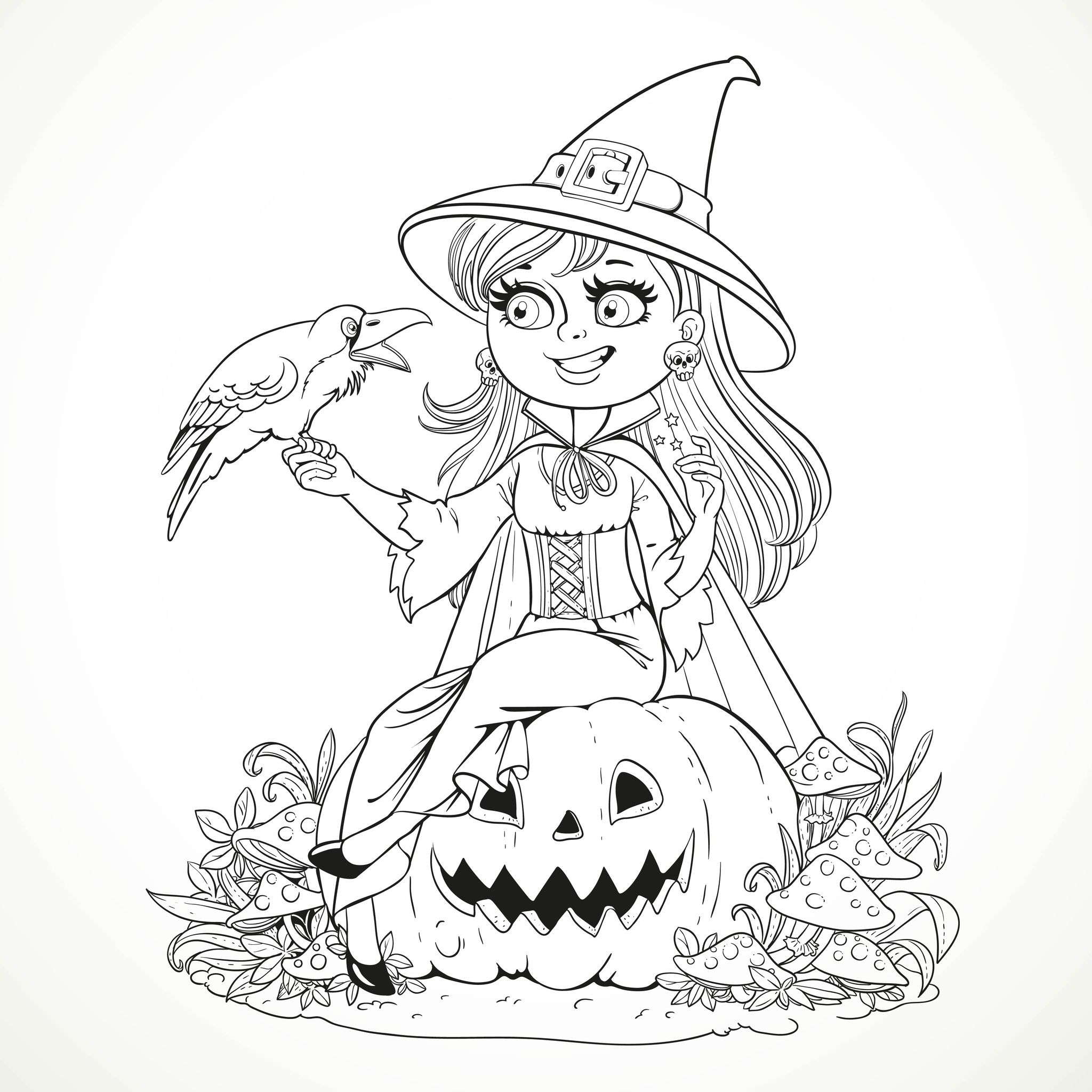 Colouring in sheets for halloween - Beautiful Witch Sitting On A Pumpkin And Talking To A Black Raven A Simple Halloween