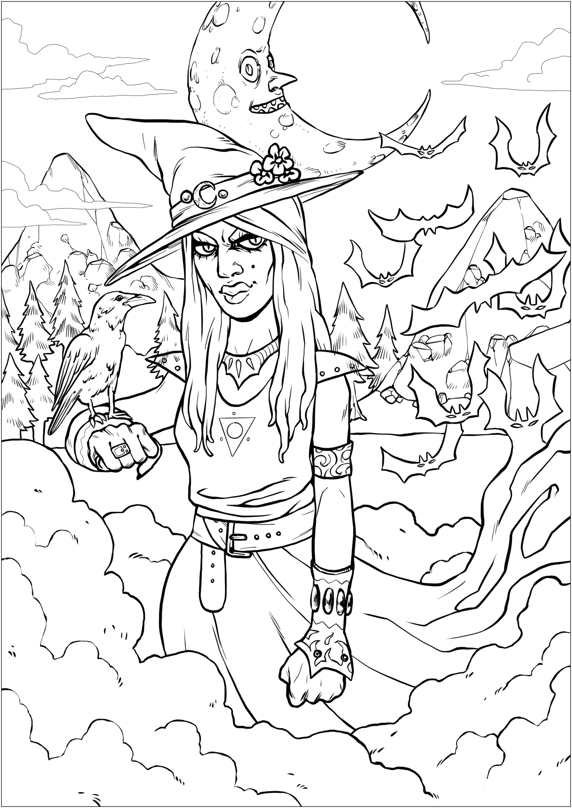 A bewitching witch and her raven, in a threatening landscape - complex version