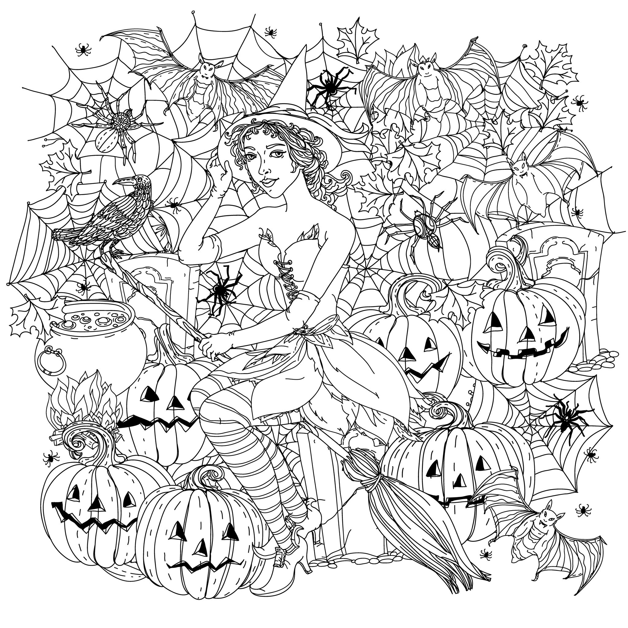 Coloring Page Halloween Witch With Pumpkins Incredible Fashion Woman Dressed Like A Crows Spiders And Other Decorations On