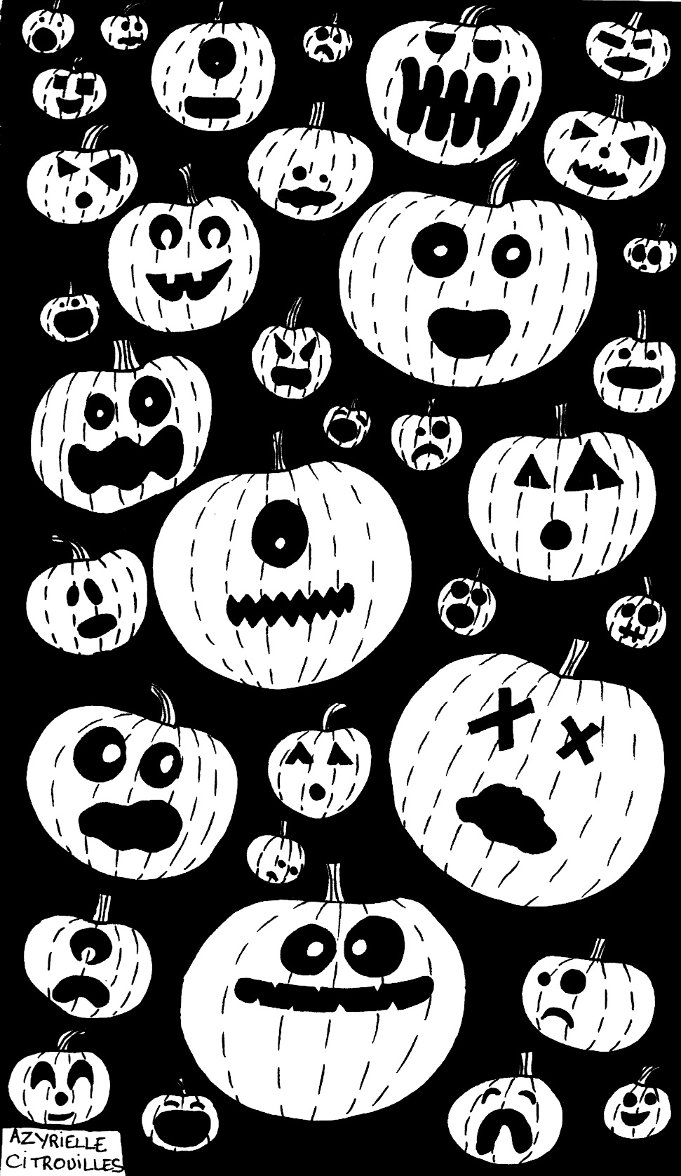 Coloring hallowen pumpkins by azyrielle