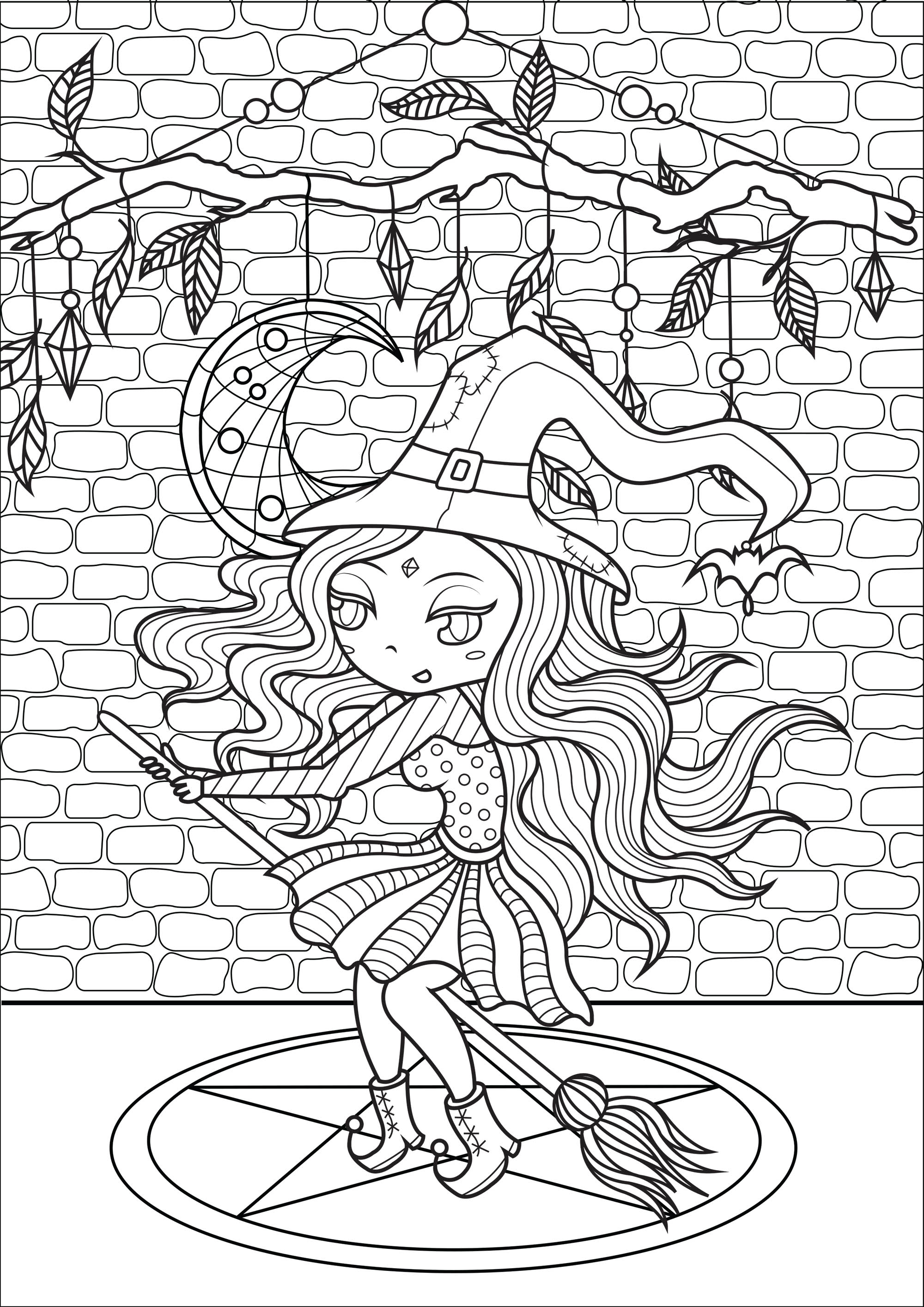 Happy witch complex halloween adult coloring pages for Mandala facili da disegnare