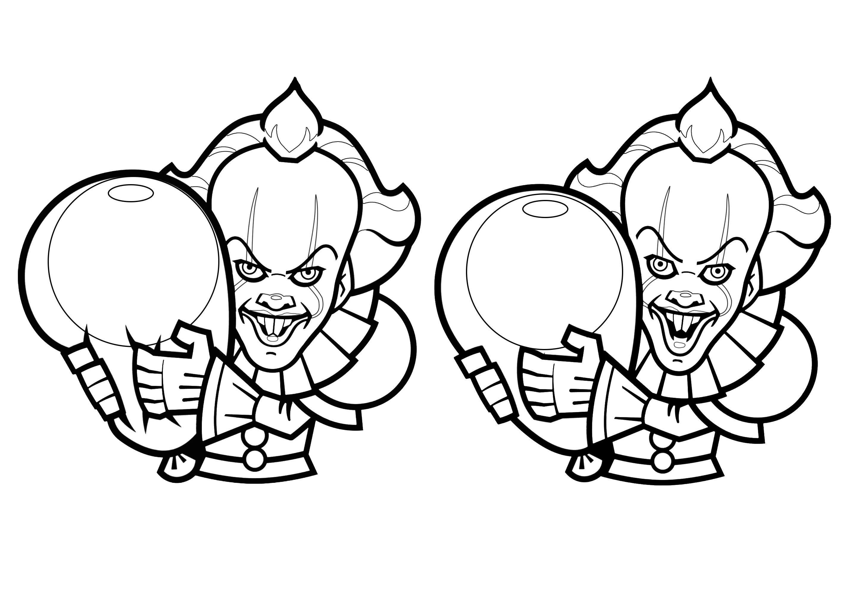 Cartoon drawings of Pennywise - Halloween Adult Coloring Pages
