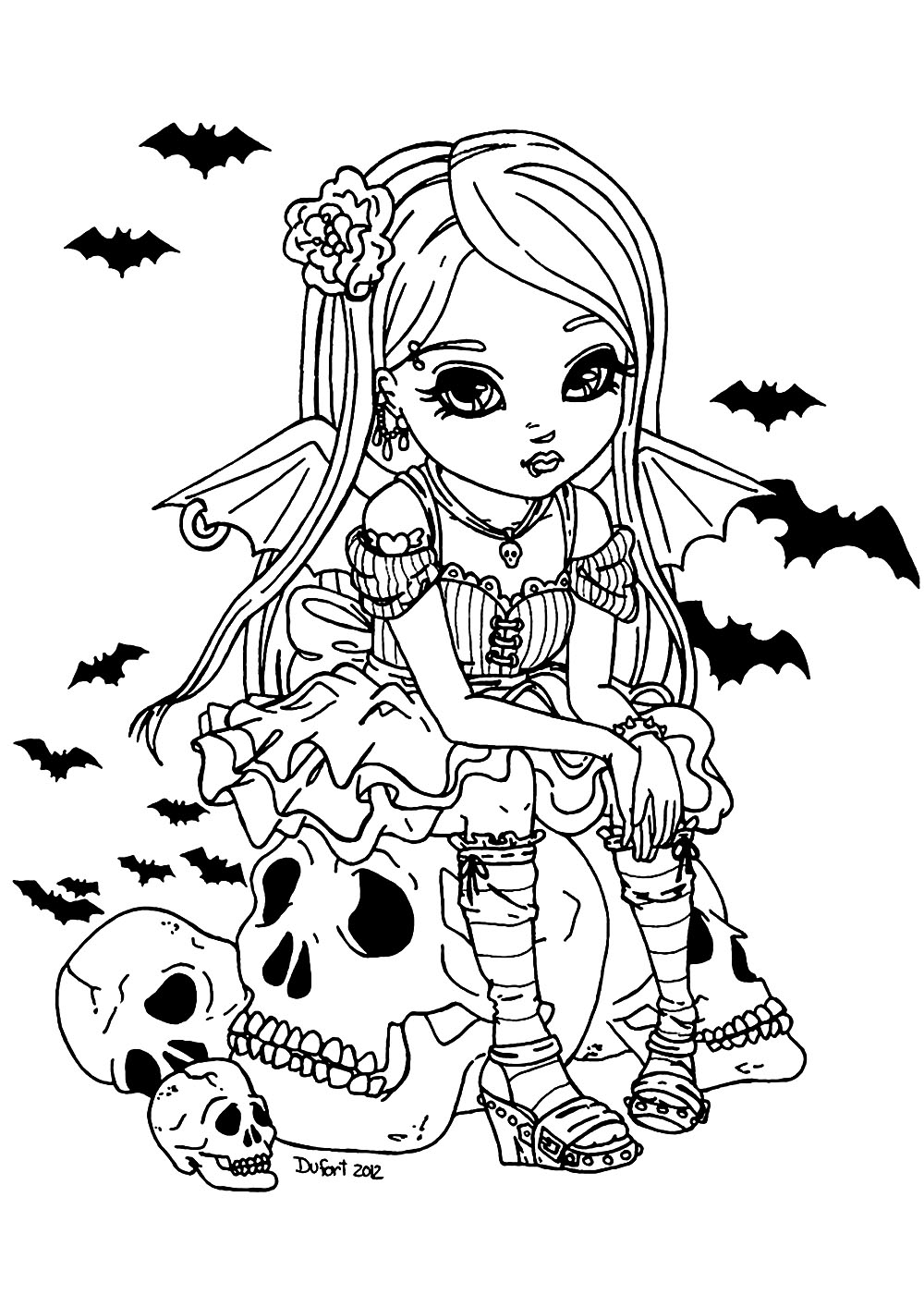 Color this cute little vampire girl, sitting on a big skull