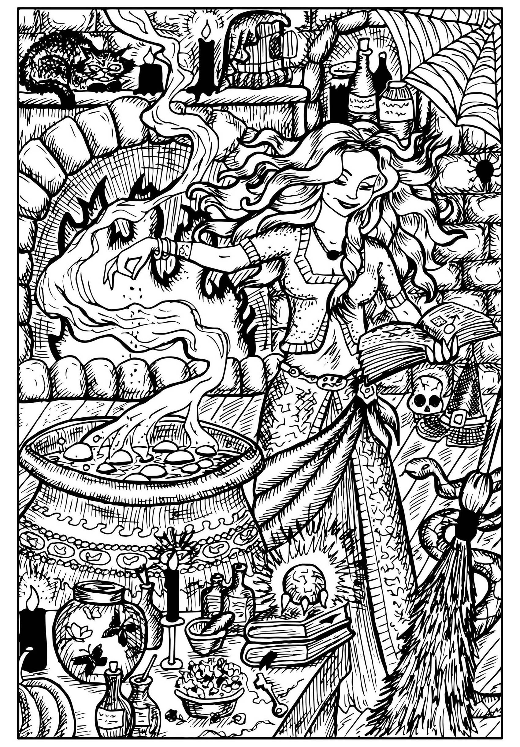 Beautiful Witch and her Cauldron