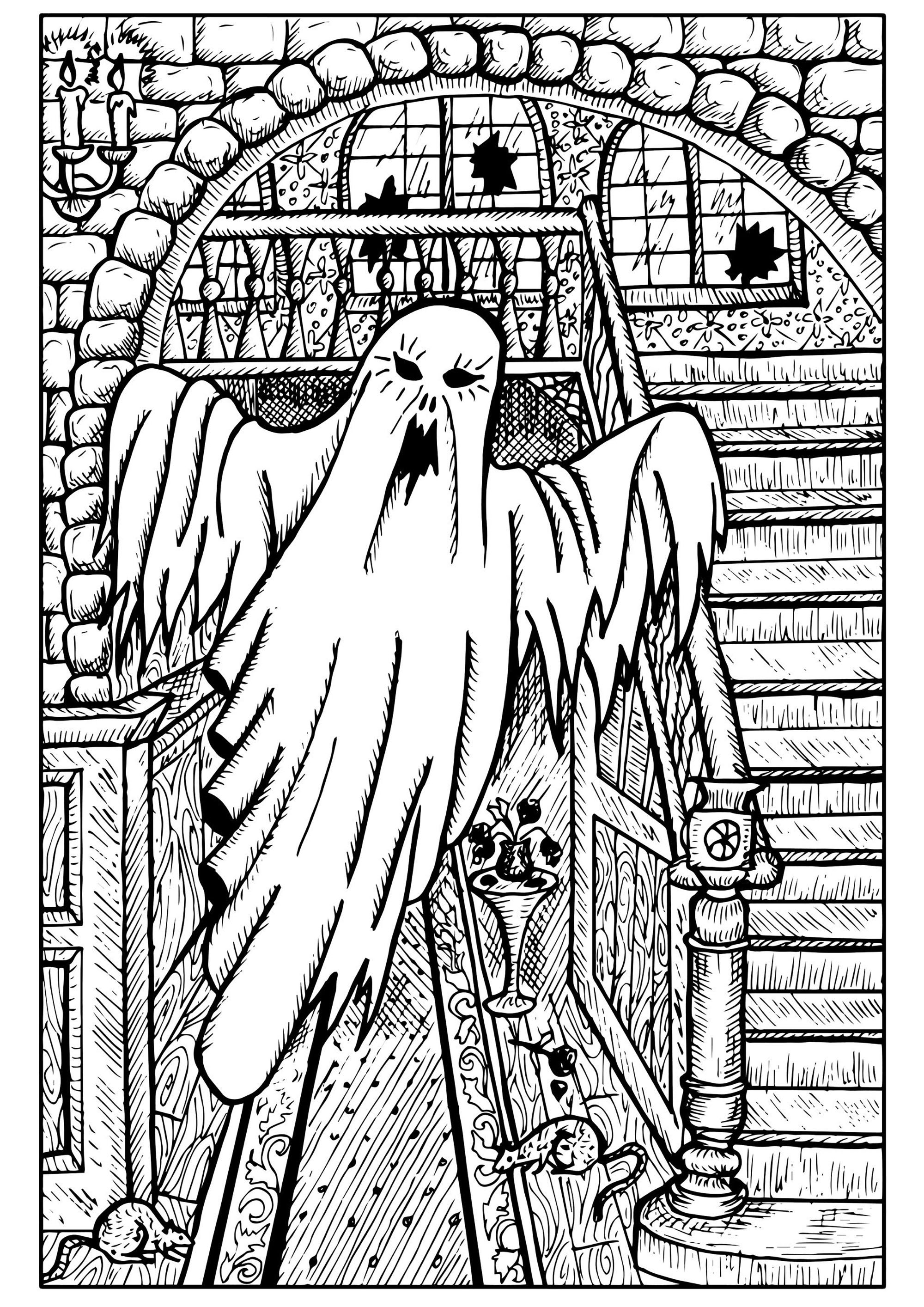 Ghost In A Haunted House Halloween Adult Coloring Pages