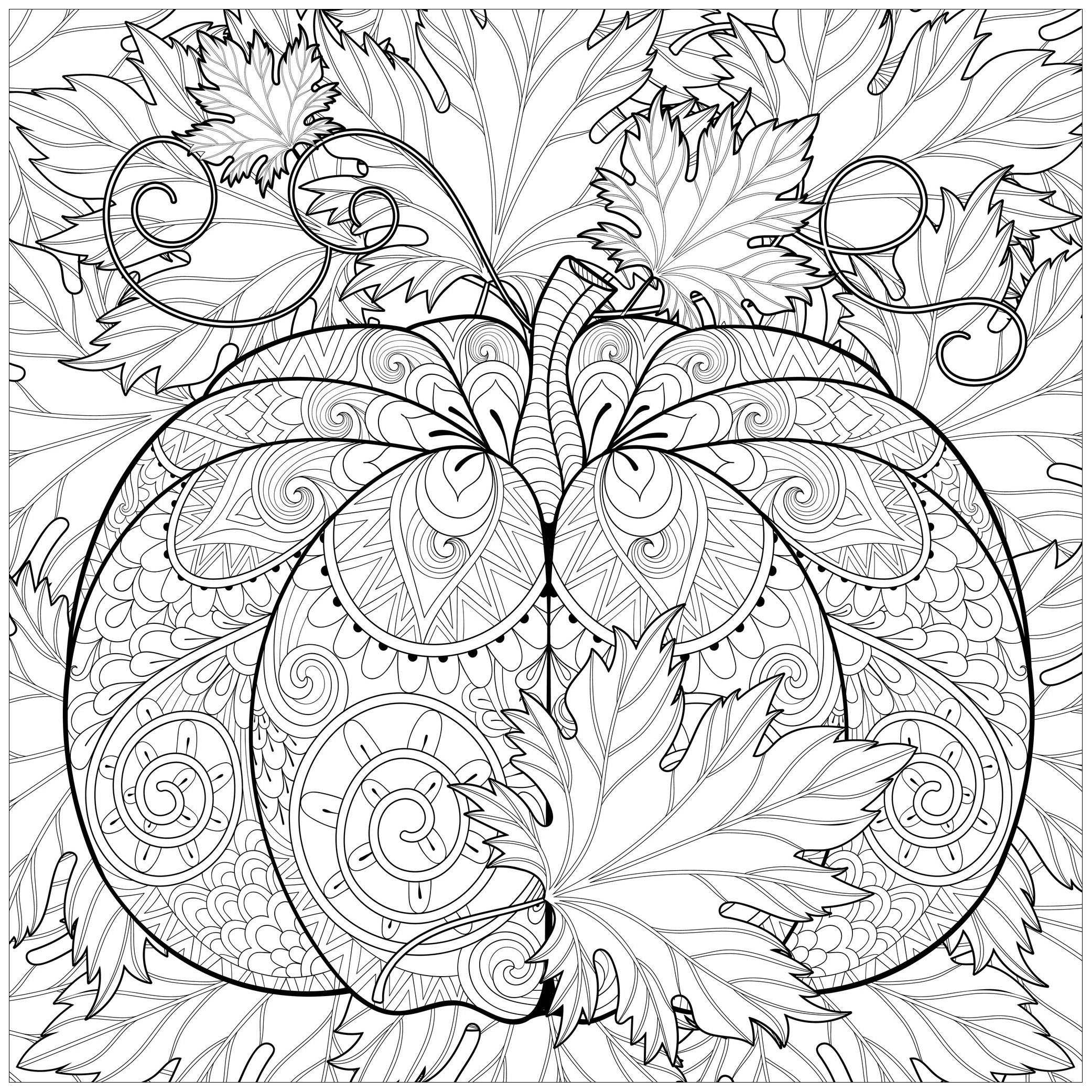 Decorated Pumpkin with Autumn leaves - Halloween Adult Coloring Pages