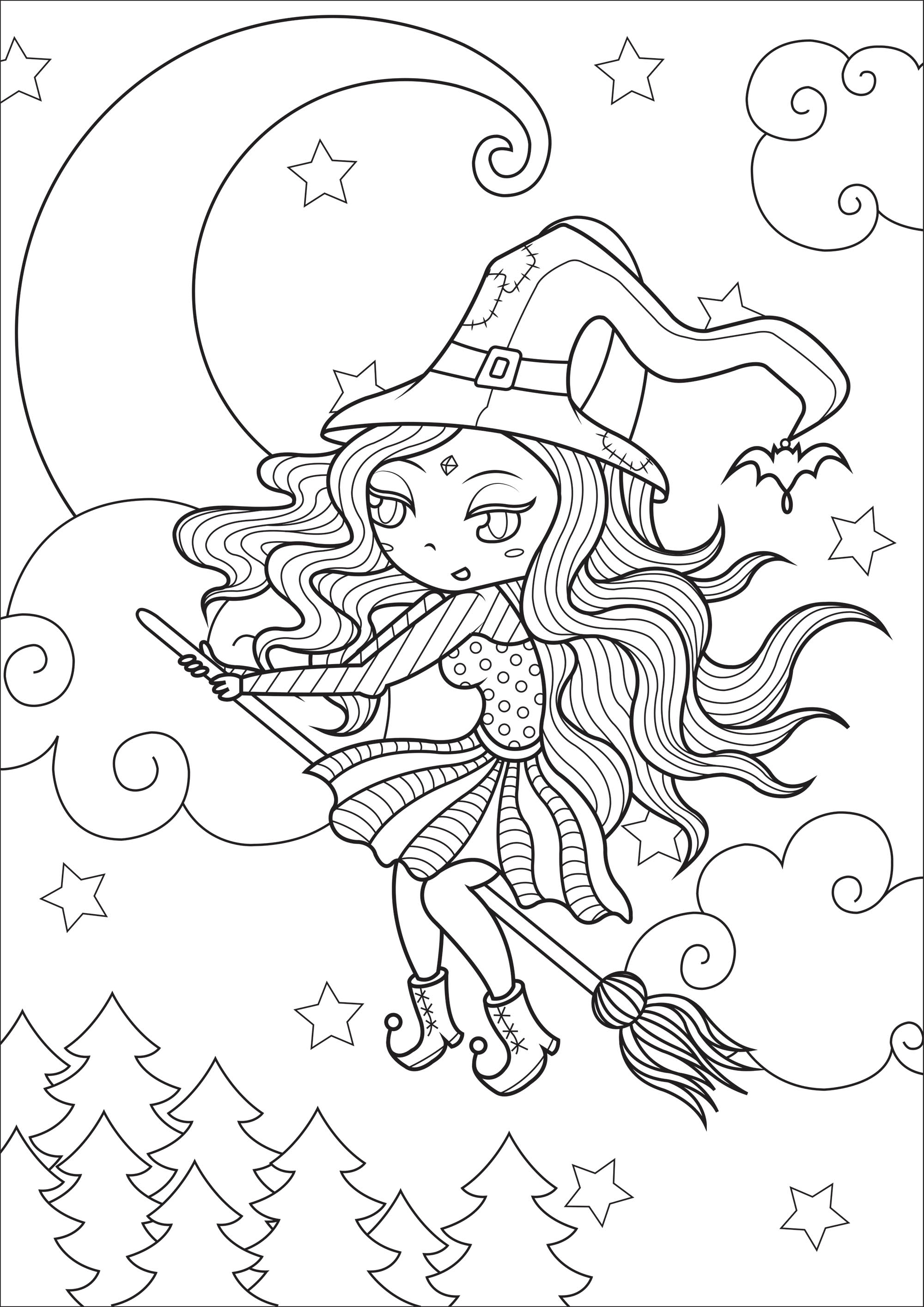 Witch in flight, with beautiful moon and starry sky in background