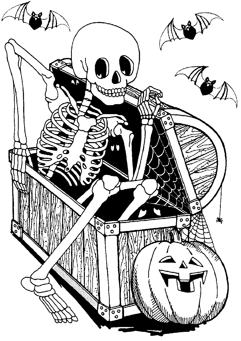 - Skeleton In Coffer - Halloween Adult Coloring Pages