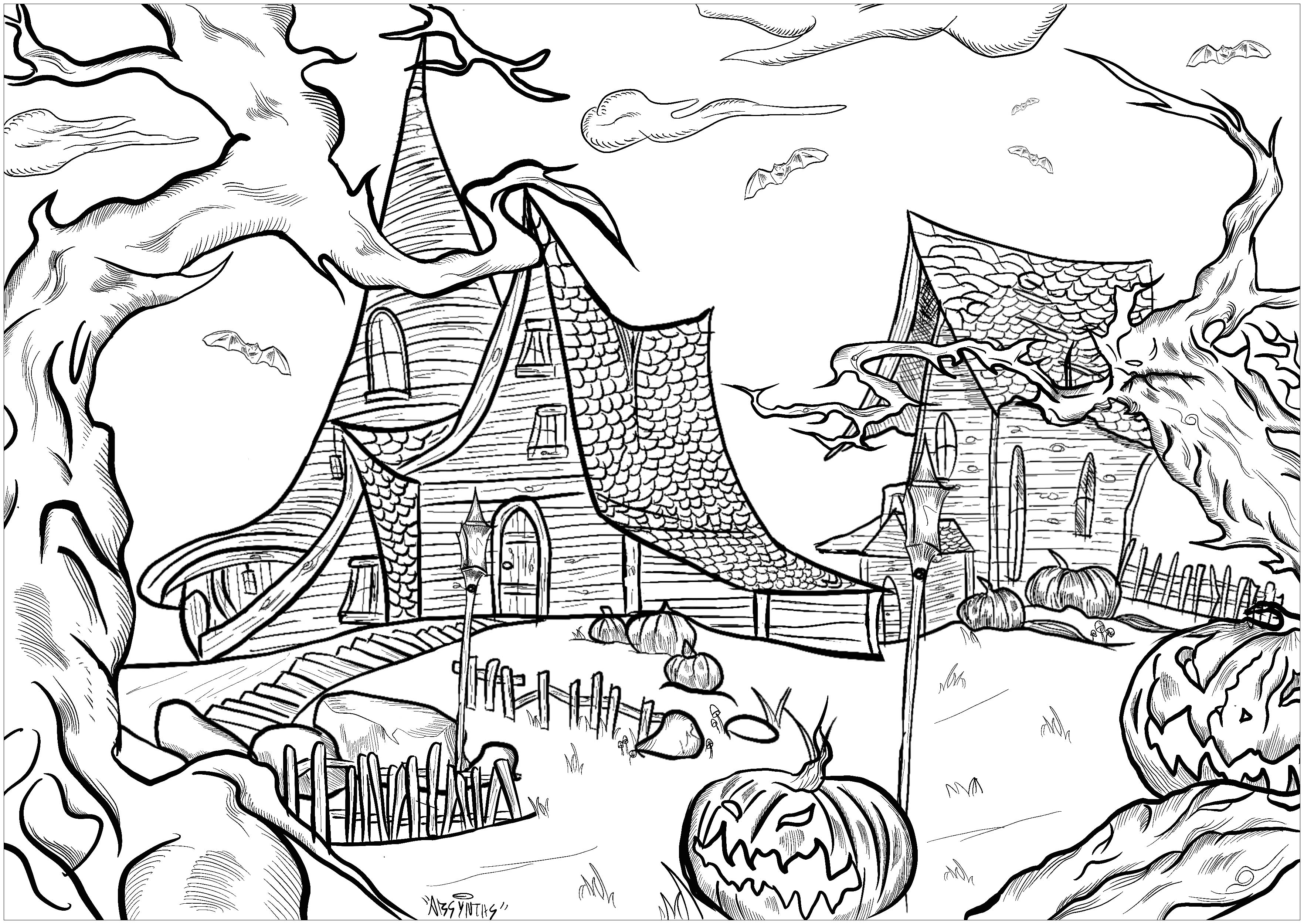 Two haunted houses in a nightmarish landscape ! Threatening trees, Halloween pumpkins, bats ....