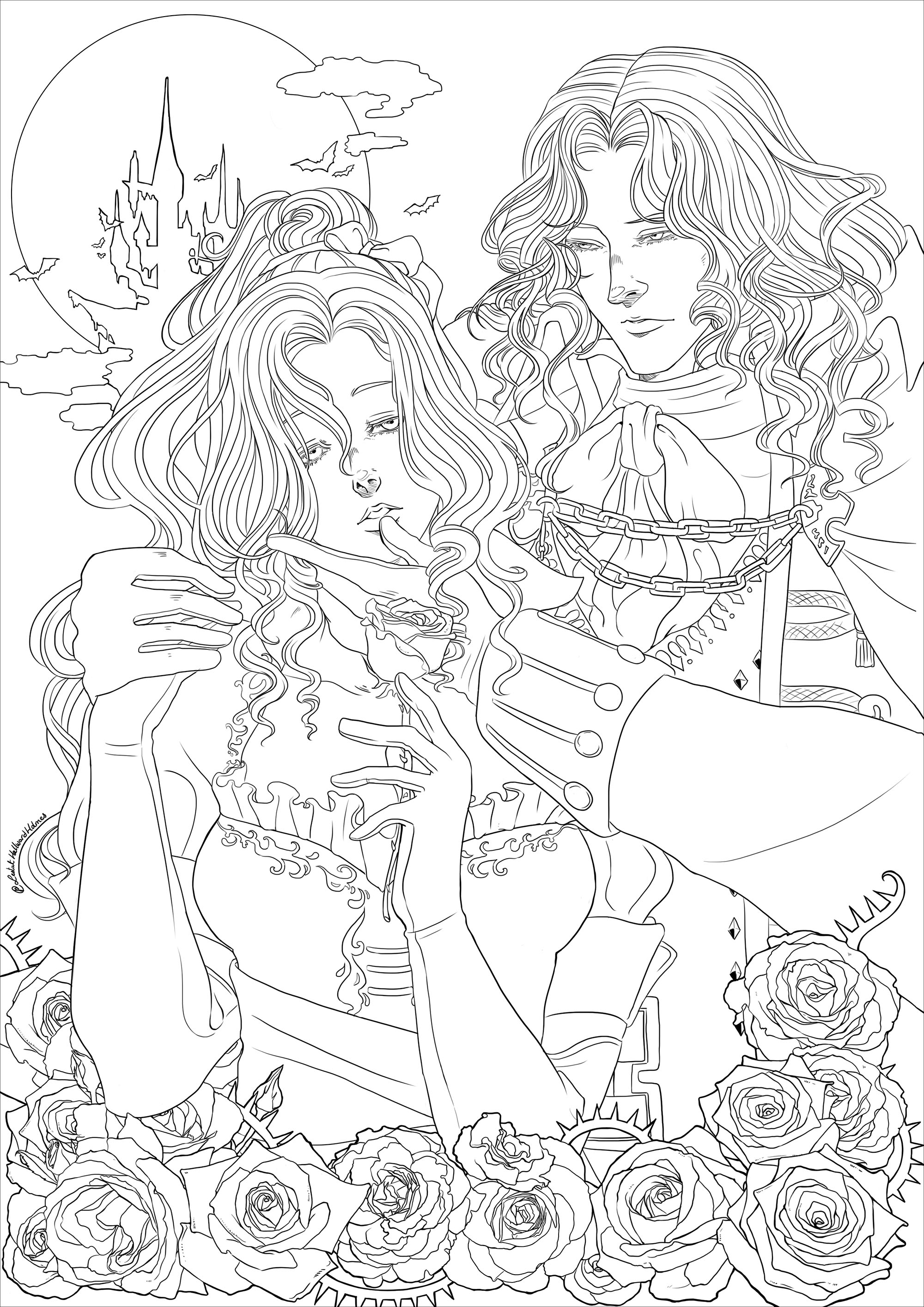Alucard And Maria Halloween Adult Coloring Pages