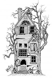 Coloring adult halloween big haunted house