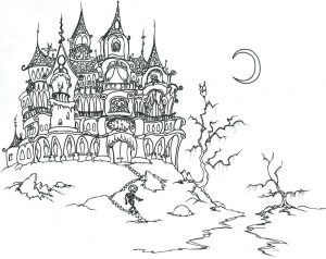 Coloring adult halloween castle and skeleton