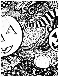 Coloring adult halloween coloring sheet