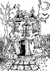 Coloring adult halloween haunted house
