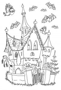 Coloring adult halloween haunted little castle