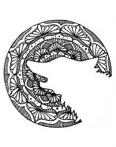 Coloring adult halloween mandala wolf head