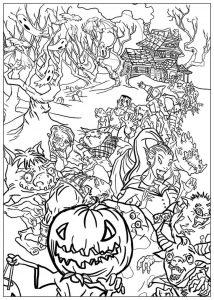 Coloring adult halloween monsters