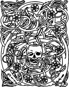 Coloring adult halloween skeleton and brambles
