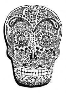 Coloring adult halloween skeleton head