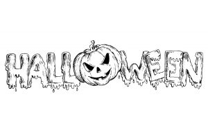 Coloring adult halloween text and pumpkin
