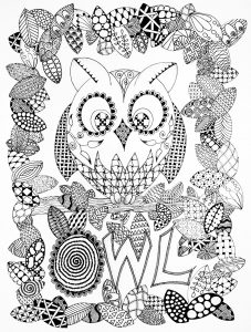 Coloring adult halloween zentangle owl