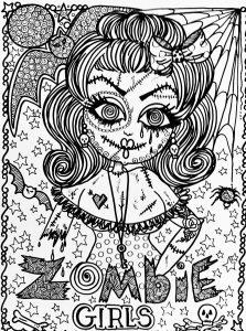 Coloring adult halloween zombie girl