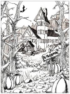 Coloring adult haunted house and pumpkins