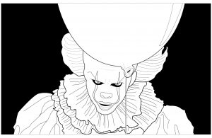 Coloring ca clown pennywise black background