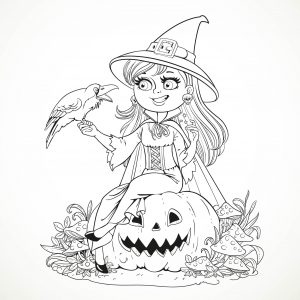Coloring halloween smiling witch and crow by azuzl
