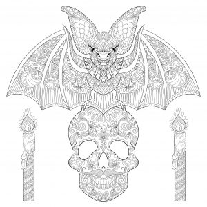 Bat on a skull with candles