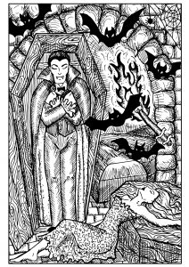 Vampire in coffin, bats and bitten woman. Fantasy magic creatures collection. Hand drawn vector illustration. Engraved line art drawing, graphic mythical doodle. Template for card game, poster
