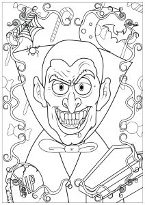 Coloring vampire halloween