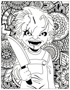 Horror coloring page chucky
