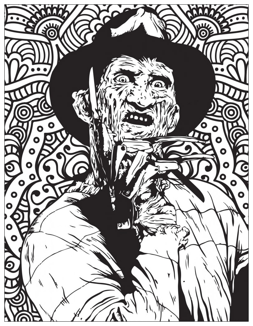 Classic horror movies coloring pages : Freddy Krueger (Source : Costume SuperCenter. Find Freddy Krueger costumes here)