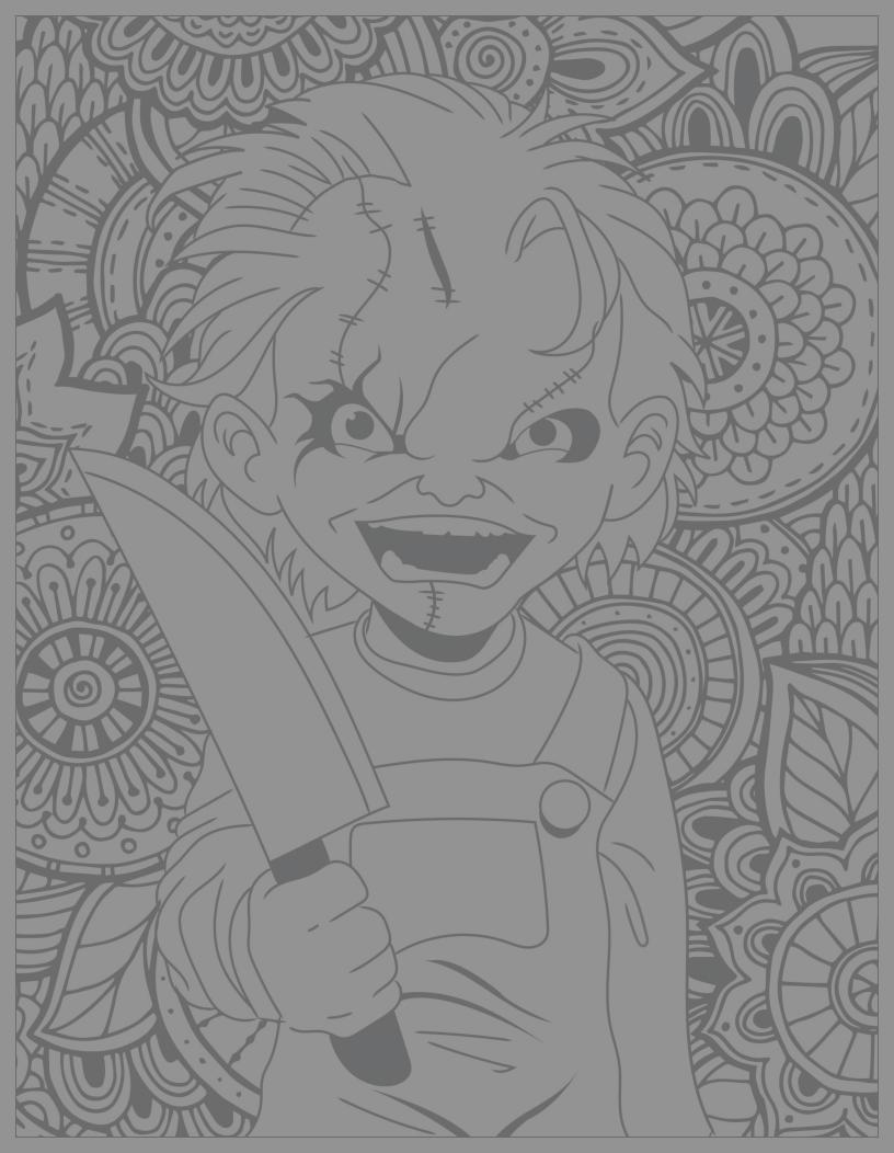 Classic horror movies coloring pages : Chucky (Source : Costume SuperCenter. Find Chucky costumes here)