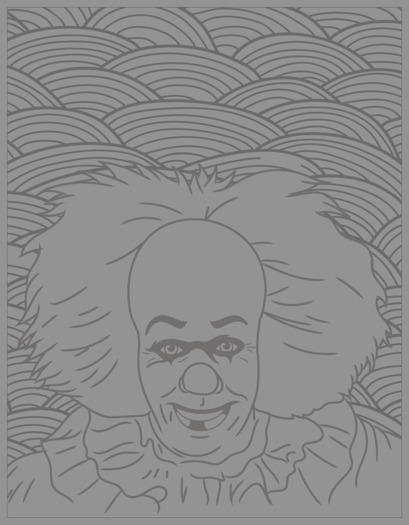 Classic horror movies coloring pages : Pennywise the Dancing clown (Stephen King's 1986 novel It, and movies) (Source : Costume SuperCenter. Find Pennywise costumes here)