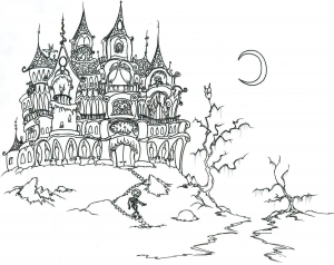 coloring-adult-halloween-castle-and-skeleton