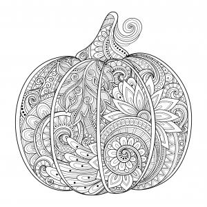 coloring-beautiful-halloween-pumpkin-zentangle-irinarivoruchko free to print