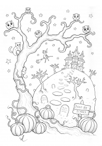 Coloring halloween haunted mansion