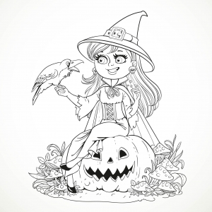 coloring-halloween-smiling-witch-and-crow-by-azuzl