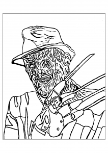 A Scary Coloring Page Of Freddie Krueger Perfect For Halloween