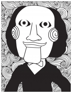 Horror coloring page jigsaw billy the puppet