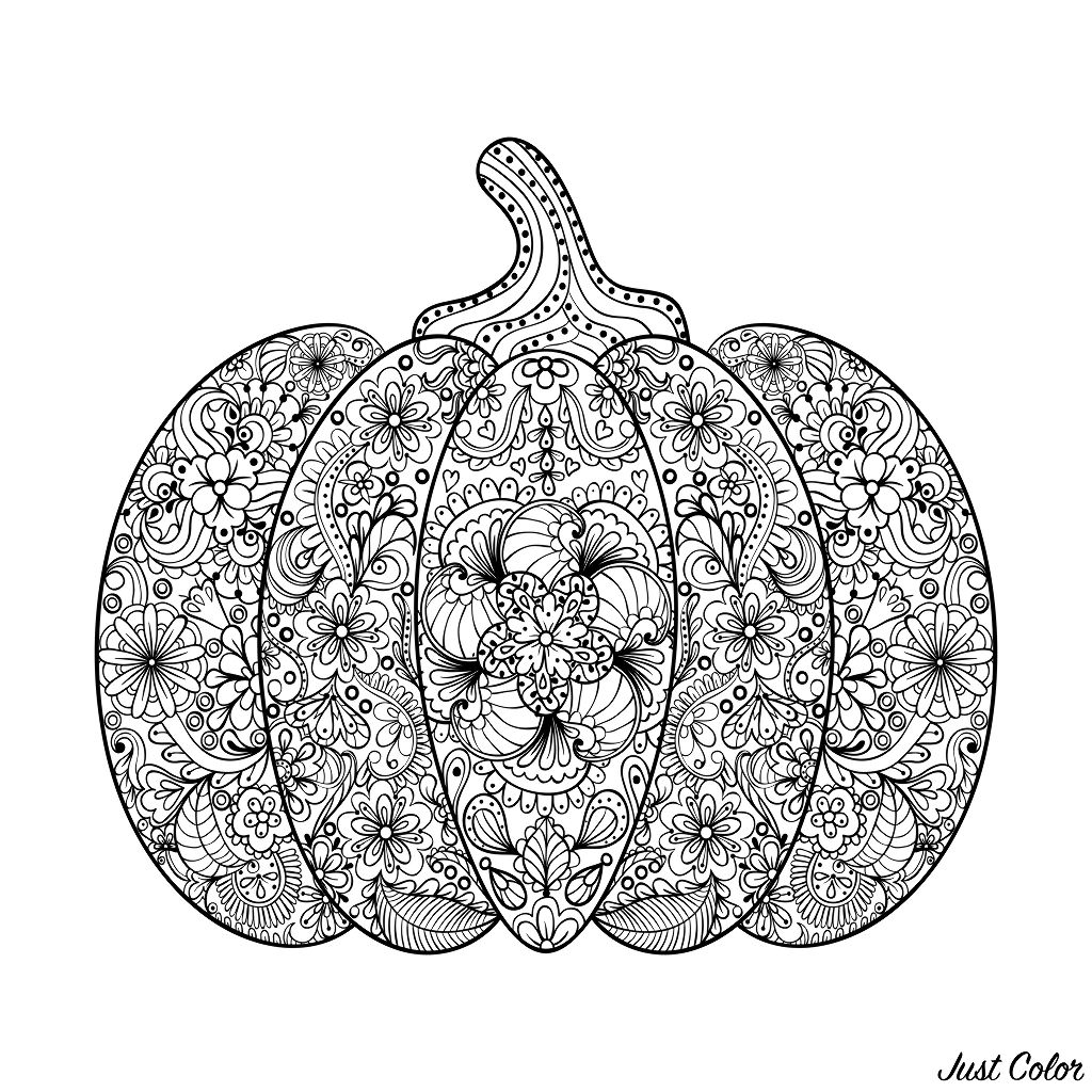 Magnificent Halloween pumpkin, filled with flowered patterns
