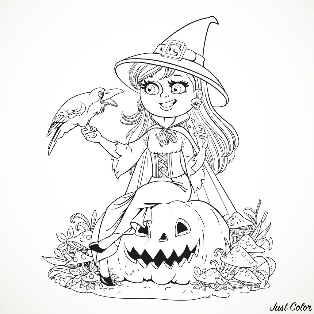 Beautiful witch sitting on a pumpkin and talking to a black raven. A simple Halloween coloring page for kids & adults