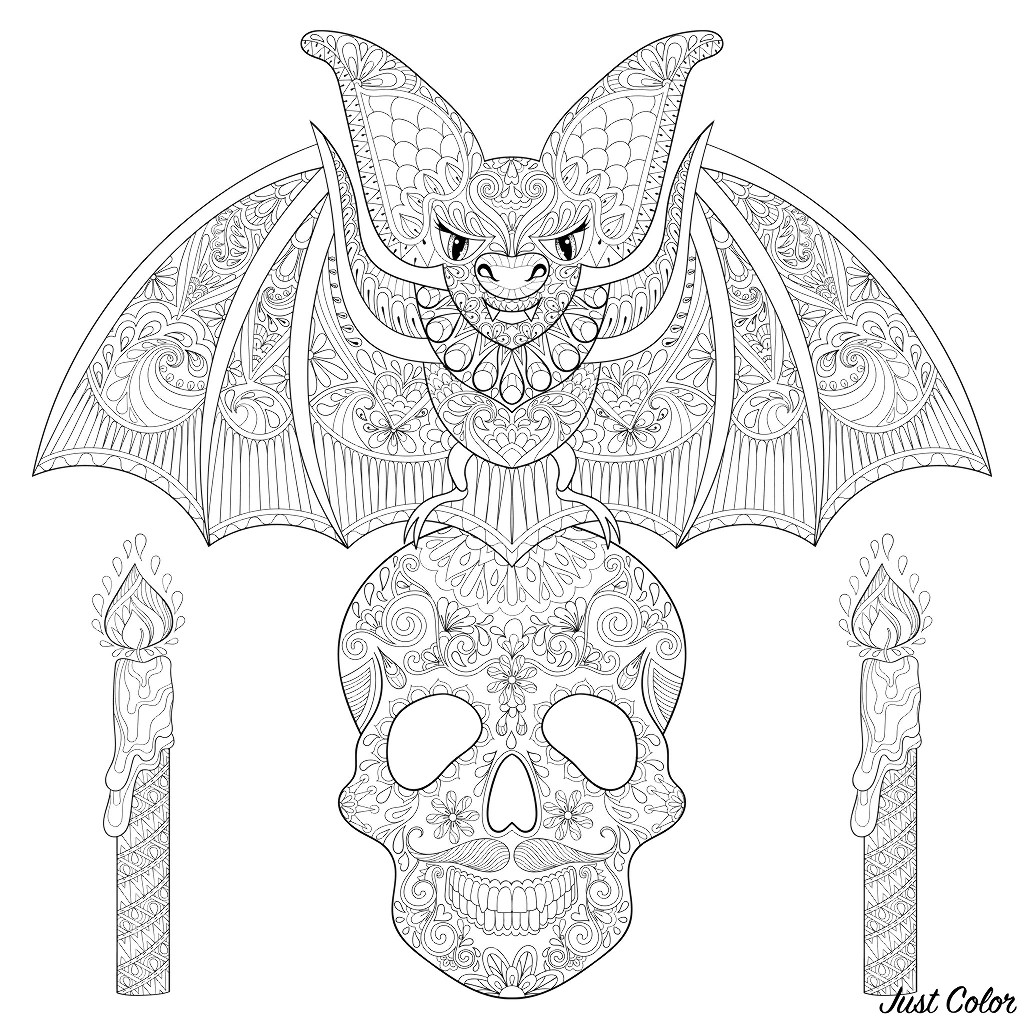 Bat On A Skull With Candles Halloween Adult Coloring Pages