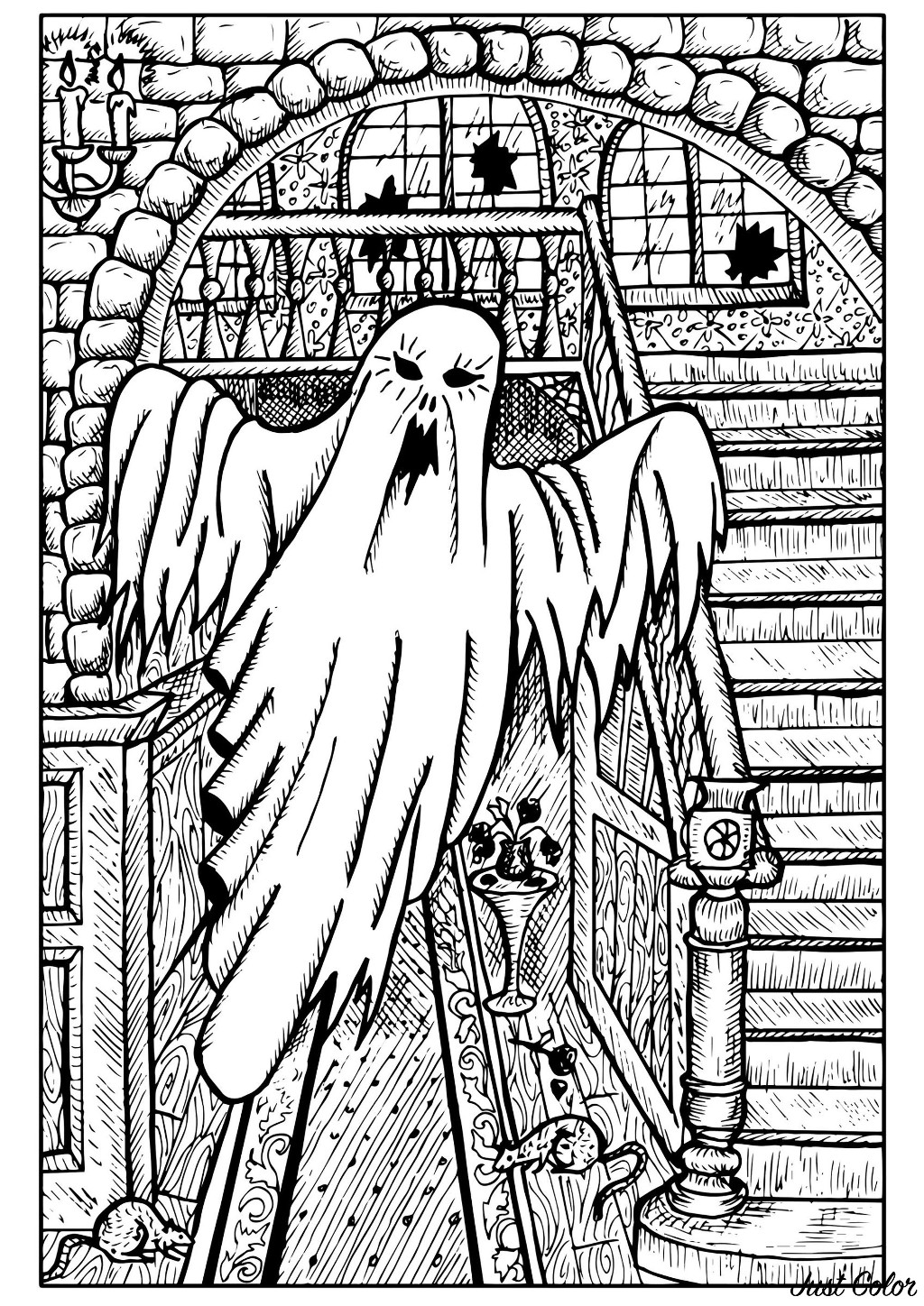 Color this white ghost who is haunting an old mansion