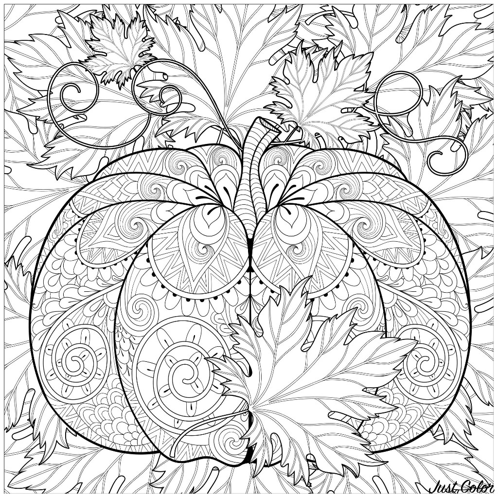 Color this cute Halloween pumpkin, filled with autumn patterns, and surrounded by beautiful leaves