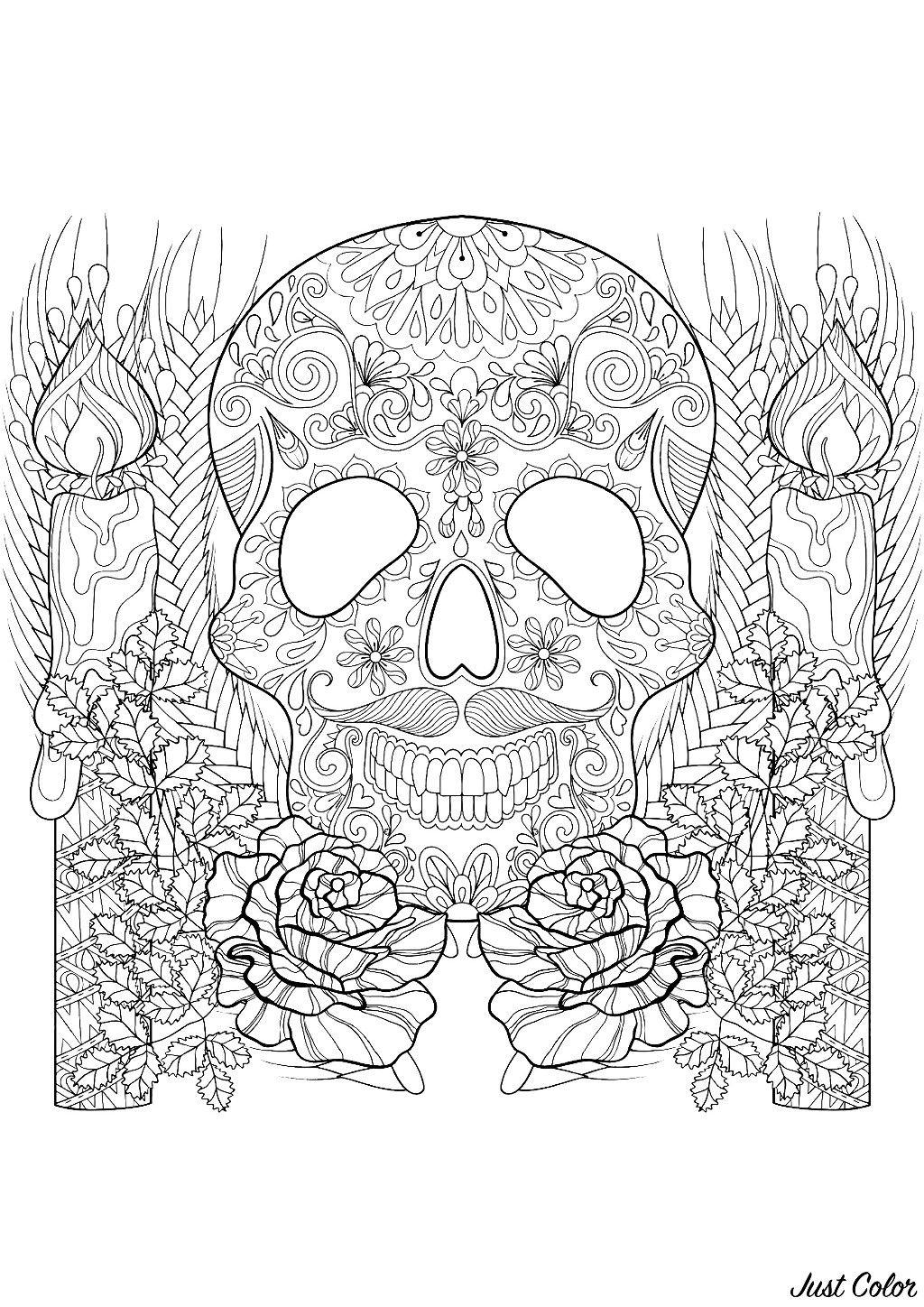 A beautiful Halloween coloring page consisting of a decorated skull surrounded by candles and flowers