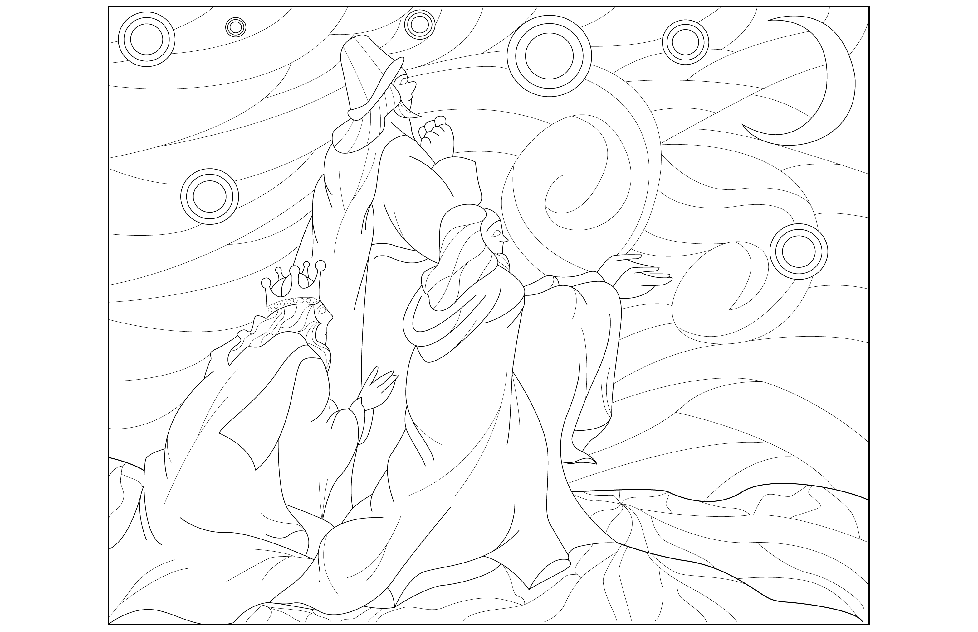 Coloring page adult Three Kings adult by Juline